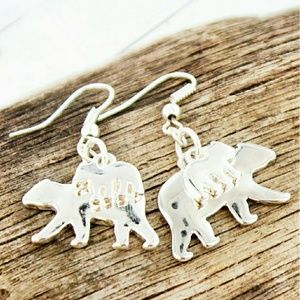 Jewelry - 2 for $20~Silvertone Mama Bear With Cub Earrings